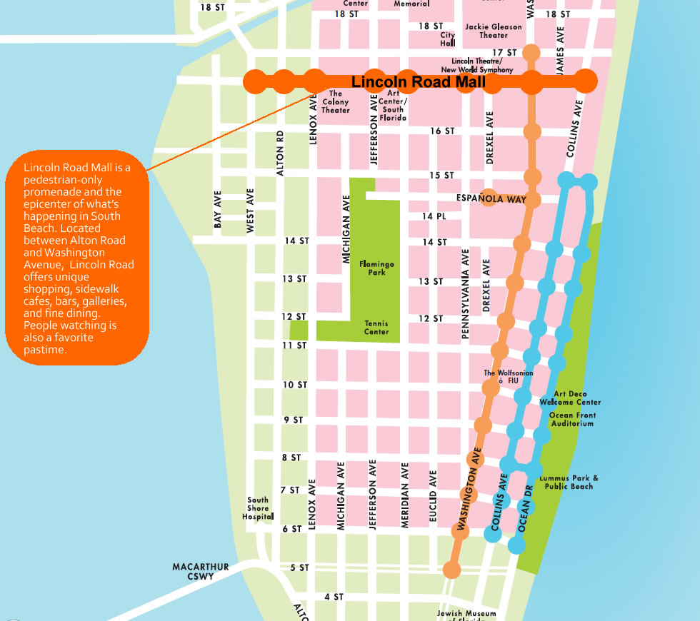map of lincoln road - lincoln road mall - shop, dine, enjoy